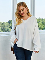 cheap -Women's Solid Colored Pullover Long Sleeve Loose Sweater Cardigans V Neck Fall Winter White