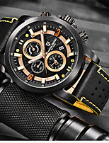 cheap -PAGANI Men's Sport Watch Quartz Modern Style Sporty Outdoor Water Resistant / Waterproof Leather Analog - Black / Yellow White+Yellow Red / Stainless Steel / Calendar / date / day / Chronograph