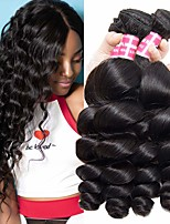 cheap -4 Bundles Indian Hair Loose Wave Remy Human Hair 100% Remy Hair Weave Bundles 400 g Natural Color Hair Weaves / Hair Bulk Human Hair Extensions 8-28 inch Natural Color Natural Black Human Hair Weaves