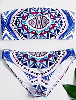 cheap -Women's Bikini Swimsuit Print Geometric Strapless Vintage Style Swimwear Bathing Suits Blue