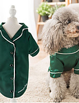 cheap -Dog Pajamas T-shirts Solid Colored Casual / Sporty Cute Party Casual / Daily Dog Clothes Warm Pink Green Costume Fabric XS S M L XL XXL