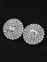 cheap -Women's Stud Earrings Earrings Round Cut Simple Luxury Elegant Korean Fashion Imitation Diamond Earrings Jewelry Silver For Wedding Party Evening Gift Prom Date 1 Pair