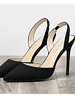 cheap -Women's Sandals Summer Stiletto Heel Pointed Toe Daily Solid Colored Suede Black