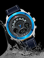 cheap -KT Men's Sport Watch Quartz Sporty Army Water Resistant / Waterproof Genuine Leather Black Analog - Digital - White Blue Gold / Japanese / Calendar / date / day / Chronograph / Noctilucent / Japanese