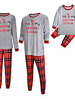 cheap -2 Piece Family Look Active Vintage Geometric Color Block Letter Print Long Sleeve Regular Maxi Clothing Set Gray