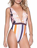 cheap -Women's Bikini One-piece Swimsuit Backless Lace up Striped Plunging Neck Swimwear Bathing Suits Blushing Pink