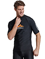 cheap -Men's Rash Guard Elastane Top Breathable Quick Dry Short Sleeve Swimming Diving Water Sports Autumn / Fall Spring Summer / Stretchy