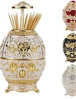 cheap -Metal Vintage Automatic Toothpick Holder Zinc Alloy Dispenser Box Organizer Russian Egg Style