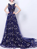 cheap -A-Line Luxurious Sparkle Engagement Formal Evening Dress Jewel Neck Sleeveless Court Train Tulle with Sequin 2020