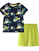 cheap -Kids Boys' Basic Print Short Sleeve Clothing Set Black