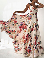 cheap -A-Line Beautiful Back Floral Holiday Prom Dress V Neck Sleeveless Floor Length Satin with Pattern / Print 2020