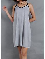 cheap -Women's Strap Dress Knee Length Dress - Sleeveless Striped Summer Casual 2020 Gray S M L