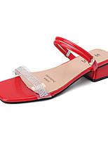 cheap -Women's Sandals Summer Block Heel Open Toe Casual Daily Outdoor Sparkling Glitter PVC / PU Black / Red / Green
