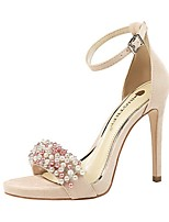 cheap -Women's Sandals Summer Stiletto Heel Open Toe Daily PU Black / Red / Pink