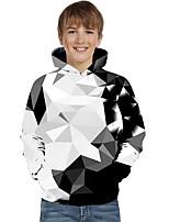 cheap -Kids Toddler Boys' Active Basic Rubik's Cube Geometric Color Block Print Long Sleeve Hoodie & Sweatshirt White