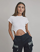 cheap -Women's Crop Top Short Sleeves Asymmetric Hem Minimalist Crop Top Sport Athleisure T Shirt Breathable Soft Exercise & Fitness Everyday Use Daily Fitness
