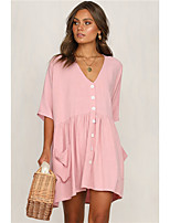 cheap -Women's A-Line Dress Short Mini Dress - Half Sleeve Solid Color Spring Summer V Neck Casual Daily 2020 Black Blue Blushing Pink Khaki S M L XL