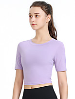 cheap -Women's Tee / T-shirt Short Sleeves Navel Sport Athleisure T Shirt Breathable Quick Dry Comfortable Yoga Exercise & Fitness Running Everyday Use Exercising General Use