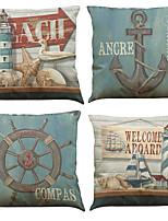 cheap -4 pcs Linen Pillow Cover Creative Anchor Linen Pillow Case Car Pillow Cushion Sofa Pillow Pillow Office Nap Pillow Pillow