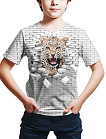 cheap -Kids Toddler Boys' Active Street chic Fantastic Beasts Geometric 3D Animal Print Short Sleeve Tee White