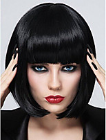 cheap -Synthetic Wig Natural Straight Short Bob Neat Bang Wig Short Blonde Natural Black Purple Synthetic Hair 10 inch Women's Fashionable Design Party Adorable Black Blonde