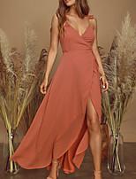cheap -Sheath / Column Maxi Boho Holiday Party Wear Dress V Neck Sleeveless Asymmetrical Chiffon with Ruffles Split 2020