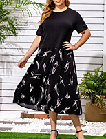 cheap -Women's A-Line Dress Midi Dress - Short Sleeves Print Summer Work 2020 Black XL XXL XXXL XXXXL XXXXXL