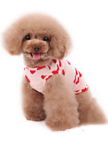 cheap -Dog Pajamas Vest Heart Casual / Sporty Cute Sports Casual / Daily Dog Clothes Warm White Pink Costume Cotton XXXS XXS XS S M L