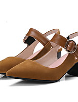 cheap -Women's Heels Summer Block Heel Pointed Toe Daily Solid Colored Suede Black / Brown