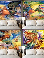 cheap -Watercolor Conch Goddess Tapestry Large Art Printed Tapestries Psychedelic Wall Hanging Beach Towel Polyester Thin Blanket Yoga