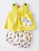 cheap -Kids Girls' Basic Print Sleeveless Clothing Set Yellow