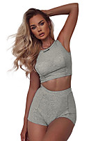 cheap -Women's Tank Top Tee / T-shirt Sports Shorts Sleeveless High Waist Navel Sport Athleisure Shorts T Shirt Breathable Quick Dry Comfortable Yoga Exercise & Fitness Running Everyday Use Exercising