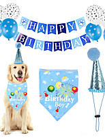 cheap -Dog Cat Bandanas & Hats Dog Bandana & Dog Hat Dog Bandana Cartoon Letter & Number Party Cute Christmas Party Dog Clothes Adjustable Blue Costume Cotton Polyster / Birthday / Birthday