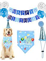 cheap -Dog Cat Bandanas & Hats Dog Bandana & Dog Hat Dog Bandana Cartoon Letter & Number Party Cute Christmas Party Dog Clothes Adjustable Blue Costume Cotton Polyster / Birthday / Birthday