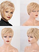 cheap -Remy Human Hair Wig Short Straight Natural Straight Bob Pixie Cut Layered Haircut Asymmetrical Brown Women Natural Hairline African American Wig Capless Women's All Natural Black #1B Medium Auburn#30