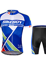 cheap -BIKEBOY Men's Short Sleeve Cycling Jersey Cycling Shorts Blue Bike Quick Dry Sports Mountain Bike MTB Road Bike Cycling Clothing Apparel / Stretchy