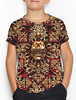 cheap -Kids Boys' Basic Geometric Print Short Sleeve Tee Brown