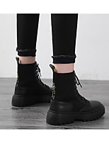cheap -Women's Boots Flat Heel Round Toe Casual Basic Daily PU Mid-Calf Boots Walking Shoes Black / Yellow