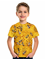 cheap -Kids Boys' Sports & Outdoors Basic Holiday Jacquard Short Sleeve Tee Yellow