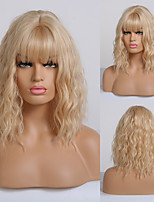 cheap -Synthetic Wig Curly Layered Haircut Neat Bang Wig Medium Length Light golden Synthetic Hair 16 inch Women's Fashionable Design Women Adorable Blonde
