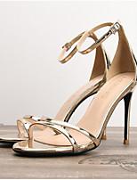 cheap -Women's Sandals Summer Stiletto Heel Round Toe Daily PU Gold / Silver