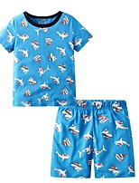 cheap -Kids Boys' Basic Cartoon Short Sleeve Clothing Set Blue