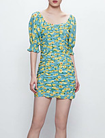 cheap -Women's Sheath Dress Short Mini Dress - Half Sleeve Floral Summer Work 2020 Light Green S M L