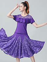 cheap -Ballroom Dance Skirts Lace Ruffles Ruching Women's Training Performance Short Sleeve Natural Lace Polyester