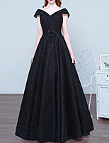 cheap -A-Line Elegant Vintage Prom Formal Evening Dress V Neck Short Sleeve Floor Length Lace with Sash / Ribbon 2020