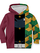 cheap -Kids Toddler Boys' Active Street chic Geometric Color Block 3D Print Long Sleeve Hoodie & Sweatshirt Rainbow