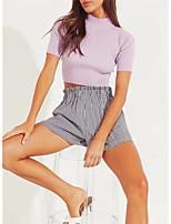 cheap -Women's Blouse Solid Colored Round Neck Tops Slim Cotton White Black Purple