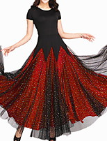cheap -Ballroom Dance Dress Pleats Paillette Women's Training Daily Wear Short Sleeve Polyester
