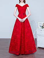 cheap -A-Line Elegant Floral Engagement Formal Evening Dress V Neck Sleeveless Floor Length Lace with Sash / Ribbon 2020