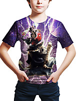 cheap -Kids Toddler Boys' Active Street chic Cat Panda Fantastic Beasts 3D Animal Print Short Sleeve Tee Purple